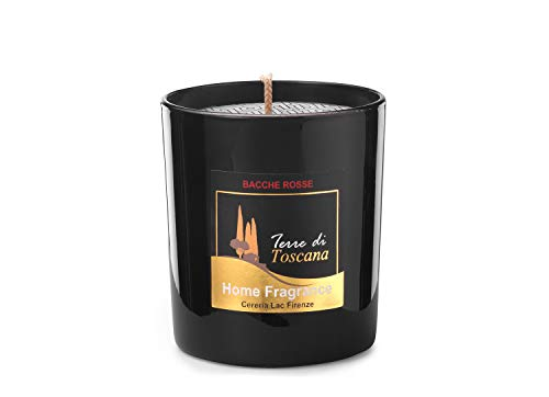 Home Deco London Signature Scented Candle Black Glass Soy Wax in Gift Box Package for Air Clean and Body Relaxation 30 hours Burn Fine Ideal for Anniversary, Birthday (Red Berries)
