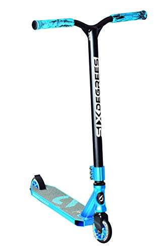 Six Degrees Aluminium Stuntscooter - Freestyle Kickroller, 100 mm High-Rebound-Rollen, ABEC 9, verstärkter Wing-Lenker, 360°-Lenkung, blau