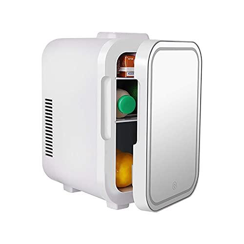 H.Slay Mini refrigerador SHKUU 4L / 6L, Espejo de Maquillaje, refrigerador LED de Alta Capacidad, cosméticos de Belleza, refrigerador Personal portátil para automóvil
