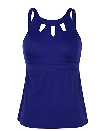 Septangle Women Plus Size Tankini Swim Top High Neck Keyhole Swimsuits Swimwear Retro Swimsuit,US 20,Navy Blue