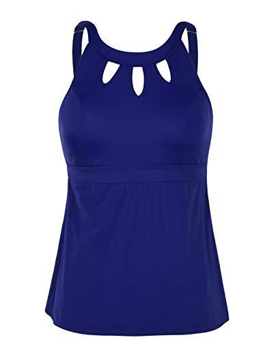 Septangle Women;s Plus Size Tankini Swim Top Cross Back Retro Swimsuit,US 28,Navy Blue