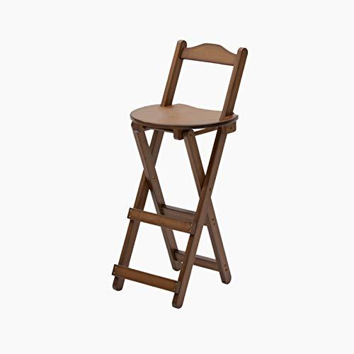 CJSWT 33.3 Pulgadas Taburetes de Barras Paso de bambú Plegable para el Contador de Cocina Pub o Bar, sillas de Acento, tumbonas para el hogar de la Altura del Pub