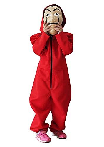 Déguisement CASA de Papel Combinaison Rouge avec Masque pour Enfant Dali Voleur Cosplay Halloween Carnaval (no Masque) (5-6 Ans)