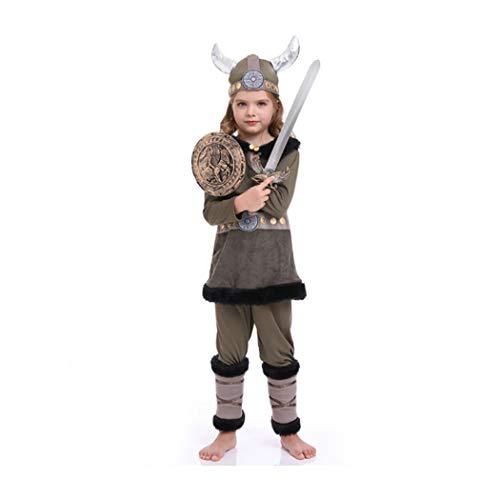 LYF Disfraz de vaca pirata para nios y mujeres, traje de guerrero, disfraz de vikingo, 100 ~ 120 cm