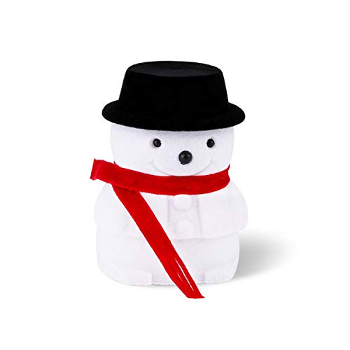 Redsheep 1 pieza muñeco de nieve terciopelo caja de joyería de Papá Noel anillo caja de joyería contenedor para pendientes vitrina titular muñeco de nieve negro 4.9x6.4cm