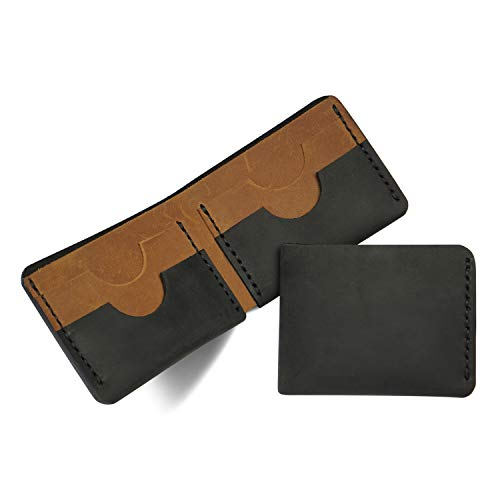 Kim Jagger Men's Handmade Slim Genuine Leather Wallet (Entirely Handmade, Stylish, Hand Stitched, Minimalist, Slim Design, Genuine Leather) (Black & Tan)
