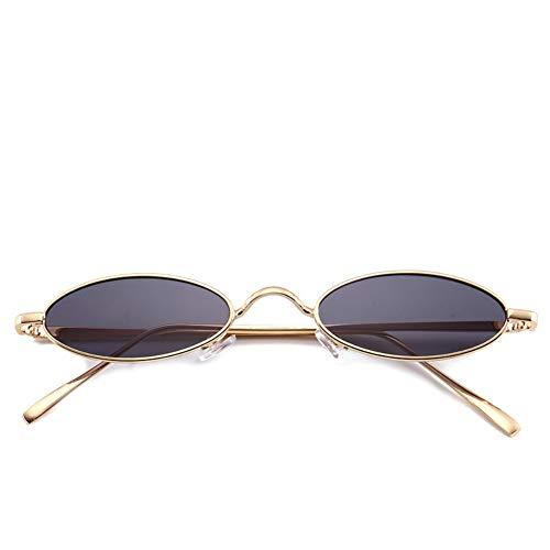 Reiko Gafas de sol ovaladas pequeñas para hombres, mujeres, con montura de metal retro, gafas de sol vintage C2