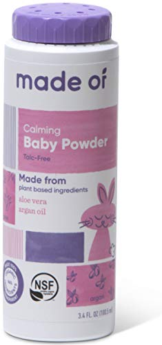 Organic Baby Powder by MADE OF – Fragrance Free, Talc Free Baby Powder with Aloe & Argan Oil – Certified Organic Corn Starch Powder (3.4oz, 1-Pack) –Body Powder for Sensitive Skin & Eczema