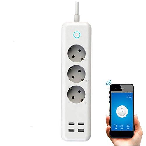Regleta Inteligente WiFi con 3 Tomas y 4 Puertos USB Carga...