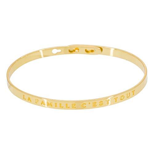 Mes-bijoux.fr Bracelet Jonc Classique en Laiton Ros/é Mon Plan EST D/ÊTRE Heureuse Pas Parfaite