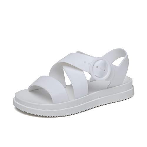 Sandalias Mujer Verano Planas Punta Abierta Playa Sandals Zapatos Gelatina Blanco 40