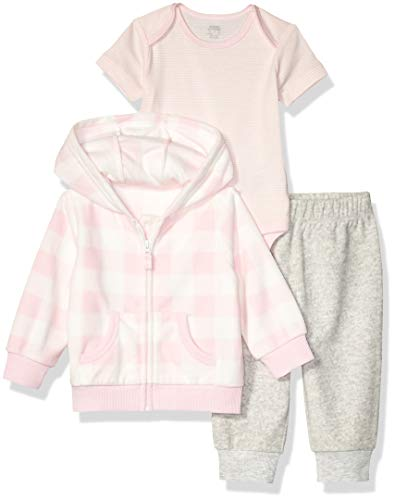Amazon Essentials 3-Piece Microfleece Hoodie Set Infant-and-Toddler-Pants-Clothing-Sets, Pink Buffalo Check, Recién nacido