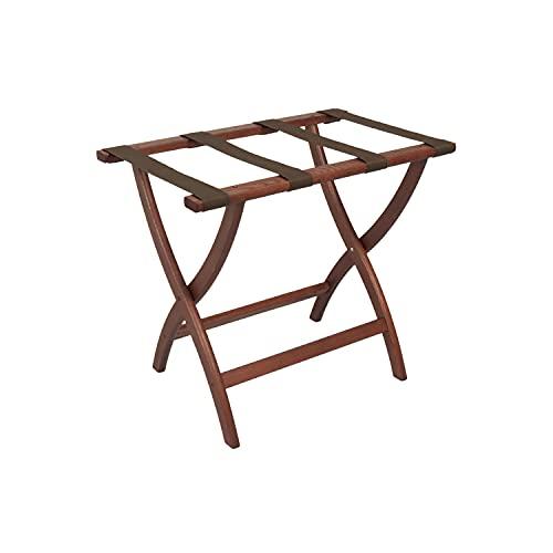 Wooden Mallet Designer Curve Leg Luggage Rack,Brown Straps, Mahogany