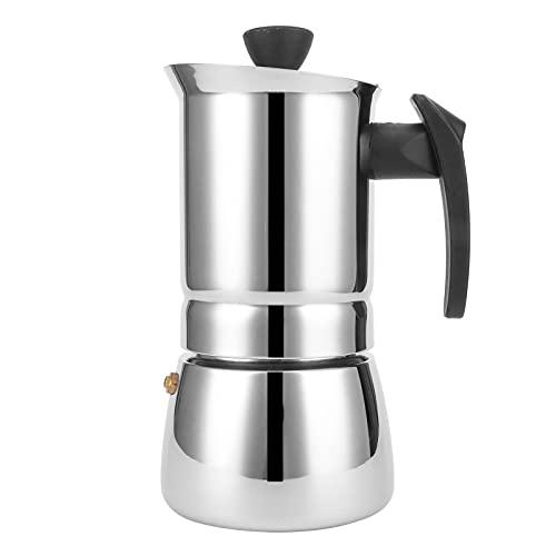 Olla Moka de acero inoxidable, cafetera para estufa con mango aislado negro, cafetera portátil para preparar café en el hogar o la oficina(300ml)