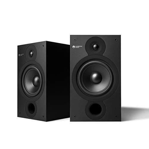 Cambridge Audio SX-60 Stativlautsprecher, 1 Paar Bücherregal Lautsprecher für HiFi Stereoanlage, Plattenspieler oder Heimkino-Tonsystem, kräftiger Bass mit breiter Klangbühne, Mattschwarz