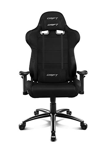 DRIFT GAMING DR100 Silla Gaming Profesional, Tela, reposabrazos 2D, Piston Clase 4, Asiento basculante, Altura Regulable, Respaldo reclinable, Cojines Lumbar y Cervical, Madera, Negro, 48x61,5x129 cm ✅