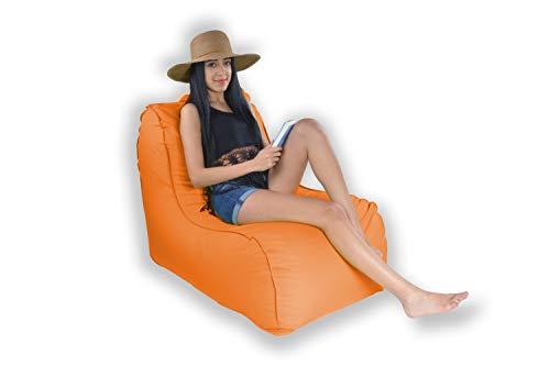 Easysitz Sitzsack Liege Outdoor mit Lehne 90x65x70 cm Sitzsäcke Indoor Relax Lounge Groß Liegesessel Liegekissen Liegematte für Kinder Erwachsene Innensack Wasserfest Waschbar (L - Orange)