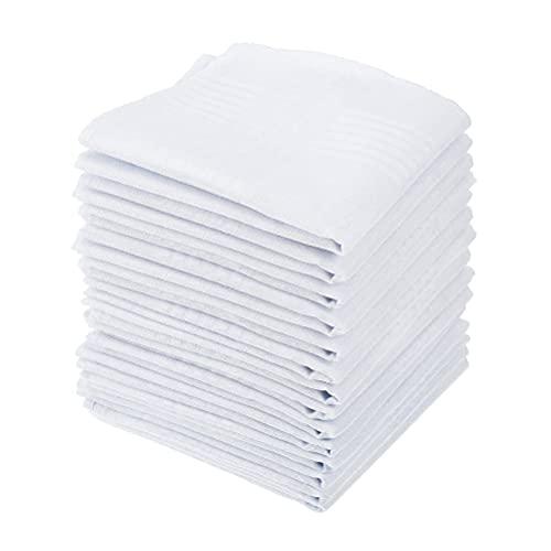 DODUOS 15pcs Pañuelo de Algodón Blanco,Pañuelo de Bolsillo Cuadrado Grande para Hombres,Pañuelos...