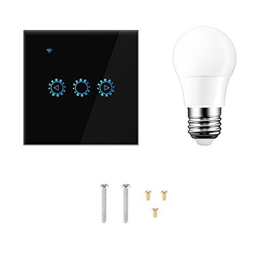 Smart Wifi Dimmer Switch 300W Touch Control Interruptor de luz pared sin escalones Trabaje con remoto de la aplicación Alexa/Google Home + bombilla E27 (se requiere una línea neutra) (negro)