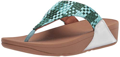 FitFlop Women's Lulu Silky Weave Toe-Post Sandals, Mint Green, 7