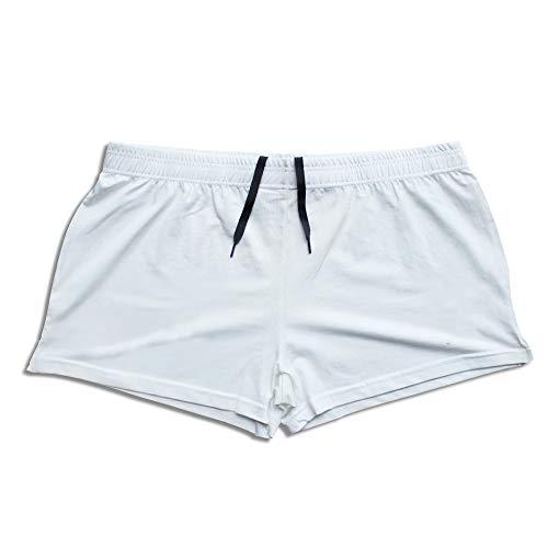 "Alivegear Men's Bodybuilding Gym Workout Fitness Shorts 3"" Inseam inch Cotton Without Pocket, White, M: waist 30''-34''"