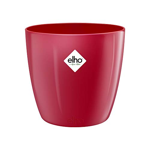 Elho Brussels Diamond Round Vaso di Fiori, Lovely Red, 13.7x13.7x12.6 cm