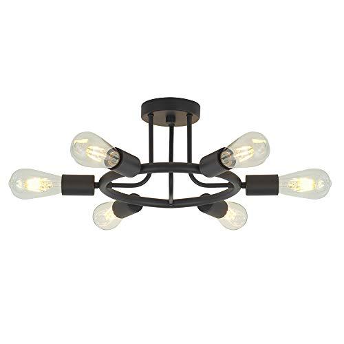 6 Lights Sputnik Chandelier Light Fixtures Modern Chandelier Lighting Black Semi...