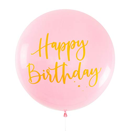 Illume Partyware Pink Jumbo Round Printed Happy Birthday Balloon with Gold Print, & 100% Biodegradable Qualatex Latex Balloons, Perfect for Birthdays. (Toy)