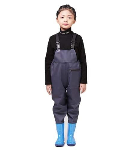 QTDZ Nylon/PVC Jugend Anglerhose Jagdstiefel mit Bootfoot & Verstellbarer Schultergurt Kinder Hohe Taille Waders für Kleinkinder & Kinder wasserdichte Wathose,Blau,28 EU