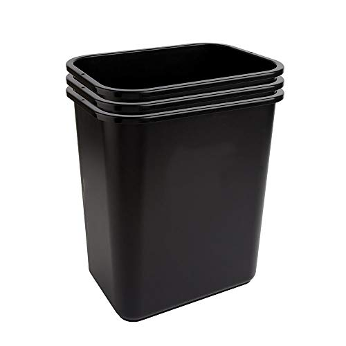 Highmark Office Depot Wastebaskets, 7 Gallons, 17 3/4in.H x 14 1/2in.W x 10 1/2in.D, Black, Pack of 3, WB0186