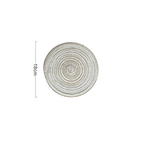 Untersetzer Tischset Ramie Isolationspad Solide Runde Tischsets Leinen rutschfeste Küchenaccessoires (Color : Beige 18cm)