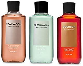Bath and Body Works 3 Pack 2-in-1 Hair + Body Wash Teakwood, Freshwater and Bourbon. 10 Oz.