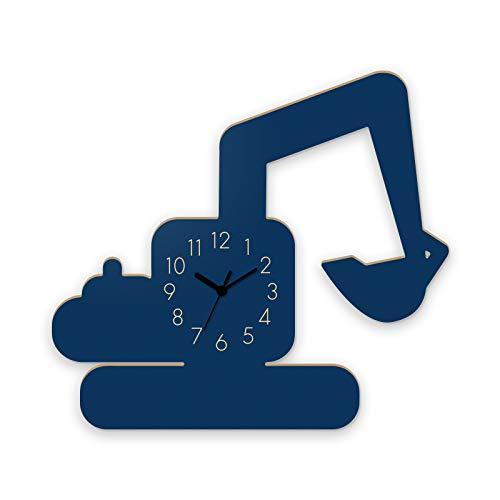 Wanduhr Bagger-Blau, Kinderuhr, Uhr für Kinderzimmer