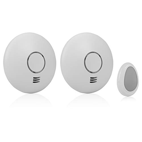 Smartwares RM174RF/2 2-er-Pack, Funk-Rauchmelder mit Fernbedienung, flaches Design EN 14604 konform