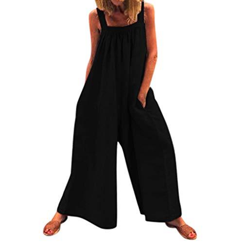 RISTHY Monos Largos Mujer Elegantes Verano Monos Mujer Clubwear Playsuit Tirantes Monos de Piernas Anchas Mujer Fiesta Tallas Grandes Pantalones Anchos Jumpsuit
