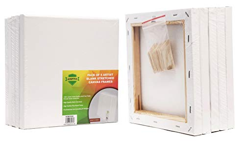 ADEPTNA Pack of 5 Artist Blank Stretched Canvas Frames - 100% Cotton Artist Quality Acid Free Triple Primed Gesso Stretched Canvas Frames with 40 Tightening Keys (20CM X 20CM)
