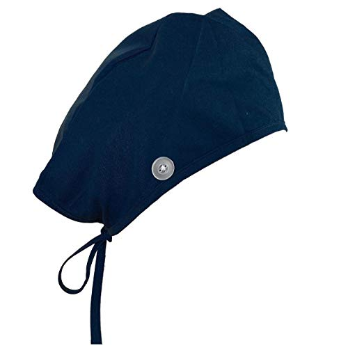 Navy Blue Scrub Cap with Buttons, Surgical Caps for Men, Women, or Unisex Scrub Hats, Medical Nurse Hats with Ties