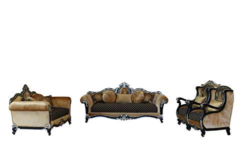 Inland Empire Furniture Bashir Formal 100% Mahogany Solid Wood Sofa, Love Seat and Chair