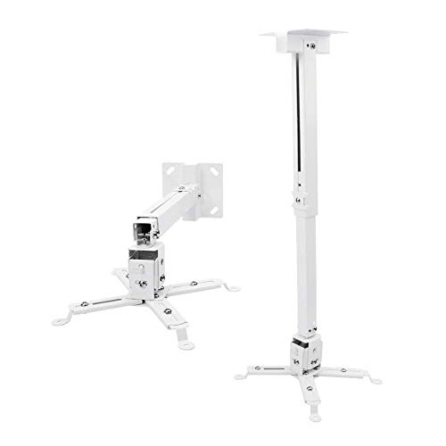 Alexvyan Universal Certified Adjustable Projector Ceiling and Wall Mount Kit Bracket Stand with Tilt Option (3 ft/24 -36 inch , White)