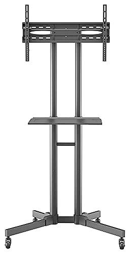 Soporte para TV móvil con ruedas para pantallas LCD de plasma de 32 a 70 pulgadas, altura ajustable, con bandeja (color: negro)