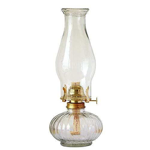 Antisue Retro Petroleumlampe Glas Altmodische Laterne Transparent Desktop-Öl-Lampen-Glas Camping-Zelt-Licht-Haushalt Notlicht 21cm