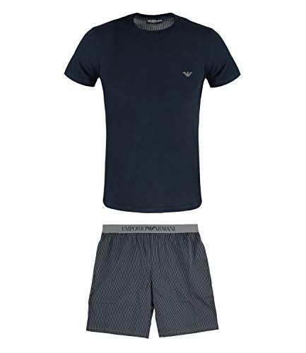Emporio Armani Herren Schlafanzug Loungewear Pyjamas 8A576-111360, Farbe:Blau, Größe:S, Artikel:-21142 Marine