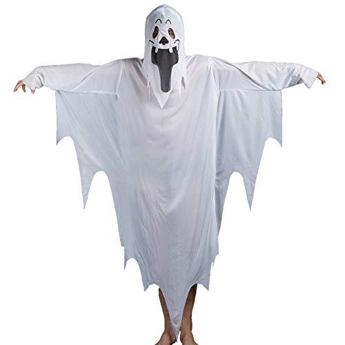 IBLUELOVER Disfraz de Fantasma de Halloween para Mujeres, Hombres, niños, Disfraces de Fiesta de Disfraces con máscara, Ropa Fantasma Espeluznante, Unisex