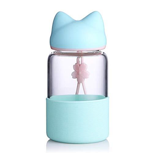 SWXC Cute Lover Fox Botella de Agua con Tapa de Manga de