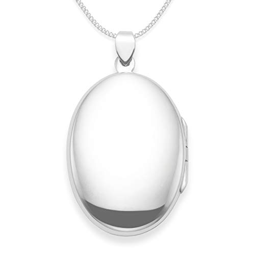 Sterling Silver Locket Necklace on Silver chain - Large Oval Locket - Size: 34mm x 22mm - weight: 6.7gms. Heather Needham Silver Gift Boxed. 8002 (18)