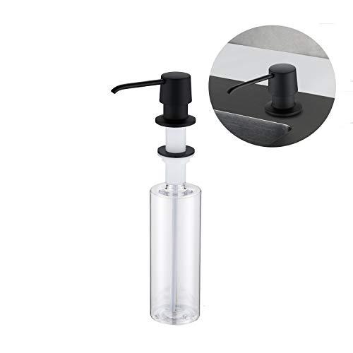 Lonheo Dispensador de jabón negro cocina Incorporado, con botella de 500 ML, Dosificador Jabón universal cocina dispensador moderno para fregadero de cocina