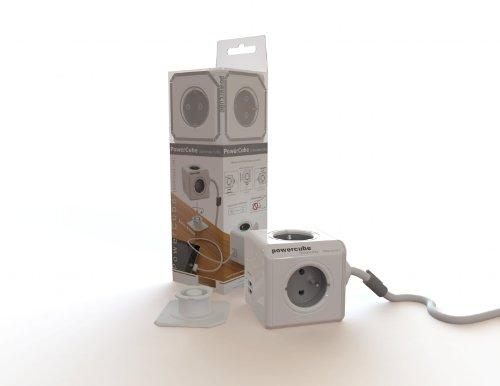 Blanc et Bleu Allocacoc PowerCube Original DuoUSB 2.1 A FR Alimentation avec 4 prises 230V et 2 prises USB