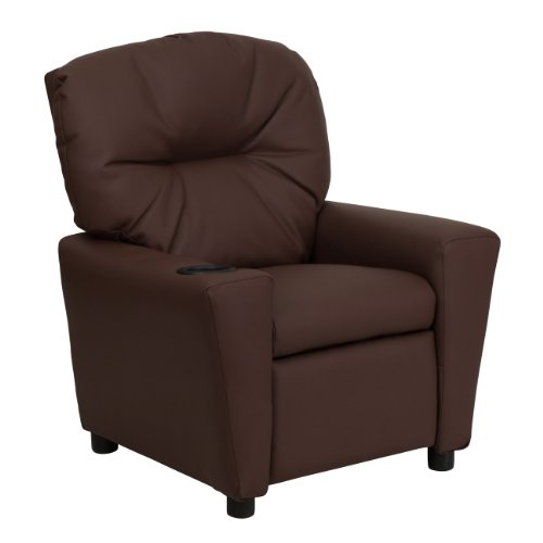 Flash Furniture Contemporary Brown Leather Kids Recliner with Cup Holder, BT-7950-KID-BRN-LEA-GG