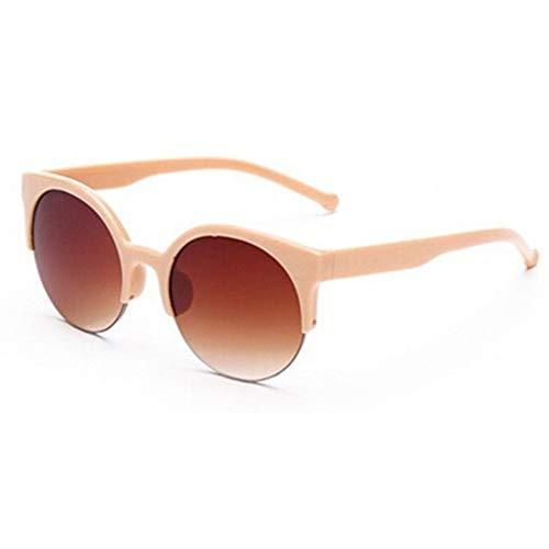 PPLAX Gafas de Sol vidrios de los anteojos de Moda Retro diseñador de Super Redondo del círculo de los vidrios del Ojo de Gato de la Mujer (Color : Beige)