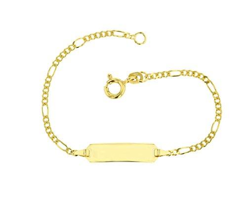 JC Trauringe 585 Gold Baby ID-Armband Kinder Goldarmband 14 cm I Figaro Armband mit Gravur Taufarmband Gold Namensarmband I Babyarmband mit Namen I Kinderschmuck made in Germany I 5.53052
